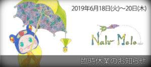 2019年6月18日(火)~20日(木)臨時休業のお知らせ